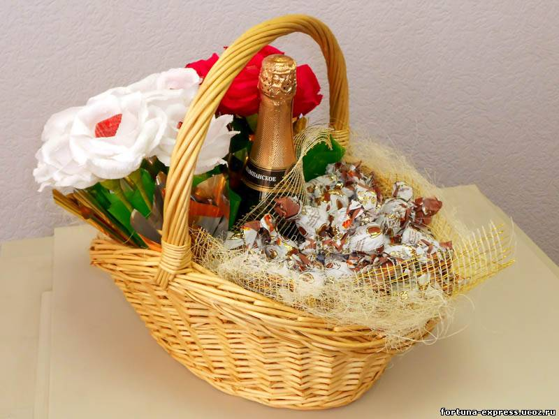 Композиция корзин с конфетами своими руками